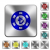 Turkish Lira casino chip rounded square steel buttons - Turkish Lira casino chip engraved icons on rounded square glossy steel buttons