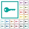 Safety key flat color icons with quadrant frames - Safety key flat color icons with quadrant frames on white background