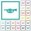 Trumpet flat color icons with quadrant frames - Trumpet flat color icons with quadrant frames on white background