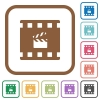 Movie production simple icons - Movie production simple icons in color rounded square frames on white background