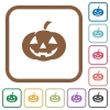 Halloween pumpkin simple icons - Halloween pumpkin simple icons in color rounded square frames on white background