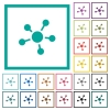Network connections flat color icons with quadrant frames - Network connections flat color icons with quadrant frames on white background