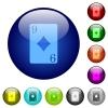 Nine of diamonds card color glass buttons - Nine of diamonds card icons on round color glass buttons