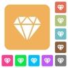 Diamond rounded square flat icons - Diamond flat icons on rounded square vivid color backgrounds.