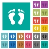 Human Footprints square flat multi colored icons - Human Footprints multi colored flat icons on plain square backgrounds. Included white and darker icon variations for hover or active effects.