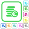 Euro coins vivid colored flat icons - Euro coins vivid colored flat icons in curved borders on white background