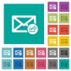 Export mail square flat multi colored icons - Export mail multi colored flat icons on plain square backgrounds. Included white and darker icon variations for hover or active effects.