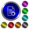 Document certificate luminous coin-like round color buttons - Document certificate icons on round luminous coin-like color steel buttons