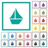 Sailboat flat color icons with quadrant frames - Sailboat flat color icons with quadrant frames on white background
