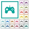 Game controller flat color icons with quadrant frames - Game controller flat color icons with quadrant frames on white background