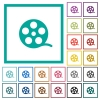 Movie roll flat color icons with quadrant frames - Movie roll flat color icons with quadrant frames on white background