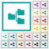 Shared folders flat color icons with quadrant frames - Shared folders flat color icons with quadrant frames on white background