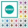 Bonus sticker flat color icons with quadrant frames - Bonus sticker flat color icons with quadrant frames on white background