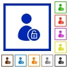 Unlock user account flat framed icons - Unlock user account flat color icons in square frames on white background