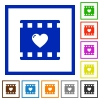 Favorite movie flat framed icons - Favorite movie flat color icons in square frames on white background
