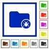 Quarantine directory flat framed icons - Quarantine directory flat color icons in square frames on white background