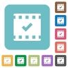 Movie ok rounded square flat icons - Movie ok white flat icons on color rounded square backgrounds