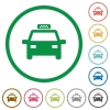 Taxi flat icons with outlines - Taxi flat color icons in round outlines on white background