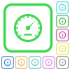 Speedometer vivid colored flat icons - Speedometer vivid colored flat icons in curved borders on white background