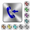 Incoming phone call rounded square steel buttons - Incoming phone call engraved icons on rounded square glossy steel buttons