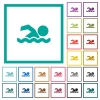 Swimming man flat color icons with quadrant frames - Swimming man flat color icons with quadrant frames on white background