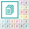 Multiple documents flat color icons with quadrant frames - Multiple documents flat color icons with quadrant frames on white background