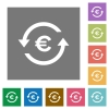 Euro pay back square flat icons - Euro pay back flat icons on simple color square backgrounds