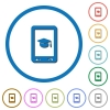 Mobile learning icons with shadows and outlines - Mobile learning flat color vector icons with shadows in round outlines on white background