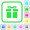 Gift box vivid colored flat icons in curved borders on white background - Gift box vivid colored flat icons