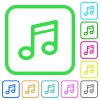 Music note vivid colored flat icons - Music note vivid colored flat icons in curved borders on white background