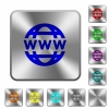 WWW globe rounded square steel buttons - WWW globe engraved icons on rounded square glossy steel buttons