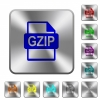GZIP file format rounded square steel buttons - GZIP file format engraved icons on rounded square glossy steel buttons