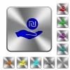 Israeli new Shekel earnings rounded square steel buttons - Israeli new Shekel earnings engraved icons on rounded square glossy steel buttons
