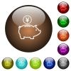 Yen piggy bank color glass buttons - Yen piggy bank white icons on round color glass buttons