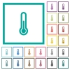 Thermometer flat color icons with quadrant frames - Thermometer flat color icons with quadrant frames on white background