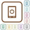 Mobile power off simple icons - Mobile power off simple icons in color rounded square frames on white background