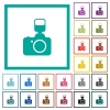 Camera with flash flat color icons with quadrant frames - Camera with flash flat color icons with quadrant frames on white background