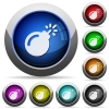 Bomb with sparkling fuse round glossy buttons - Bomb with sparkling fuse icons in round glossy buttons with steel frames
