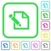 Edit with pencil vivid colored flat icons - Edit with pencil vivid colored flat icons in curved borders on white background