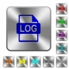 LOG file format rounded square steel buttons - LOG file format engraved icons on rounded square glossy steel buttons