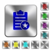 Marked note rounded square steel buttons - Marked note engraved icons on rounded square glossy steel buttons