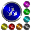 Cubes luminous coin-like round color buttons - Cubes icons on round luminous coin-like color steel buttons