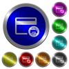Credit card print record luminous coin-like round color buttons - Credit card print record icons on round luminous coin-like color steel buttons