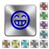 Laughing emoticon rounded square steel buttons - Laughing emoticon engraved icons on rounded square glossy steel buttons