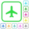 Airplane vivid colored flat icons - Airplane vivid colored flat icons in curved borders on white background