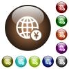 Online Yen payment color glass buttons - Online Yen payment white icons on round color glass buttons