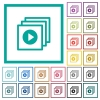 Play files flat color icons with quadrant frames on white background