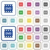DVD movie format outlined flat color icons - DVD movie format color flat icons in rounded square frames. Thin and thick versions included.