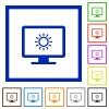 Adjust screen brightness flat framed icons - Adjust screen brightness flat color icons in square frames on white background