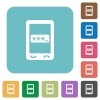 Mobile pin code rounded square flat icons - Mobile pin code white flat icons on color rounded square backgrounds
